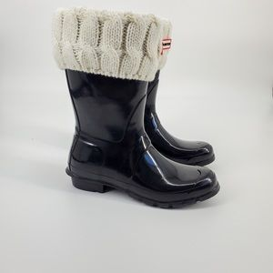 Hunter Rubber Rain Boots and Warmer Socks Sz 9